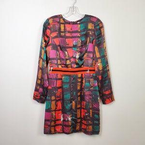 Milly Long Sleeve Silk Sheath Mod Abstract Dress